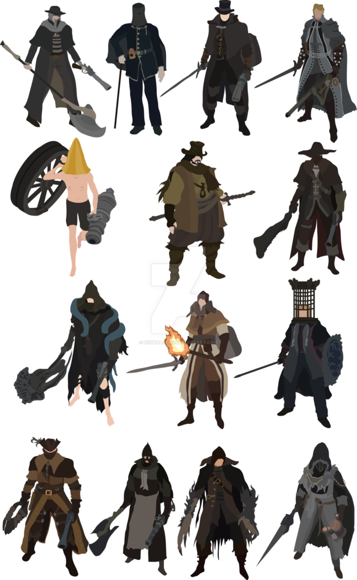 picture library library Bloodborne drawing hunter. The old hunters are