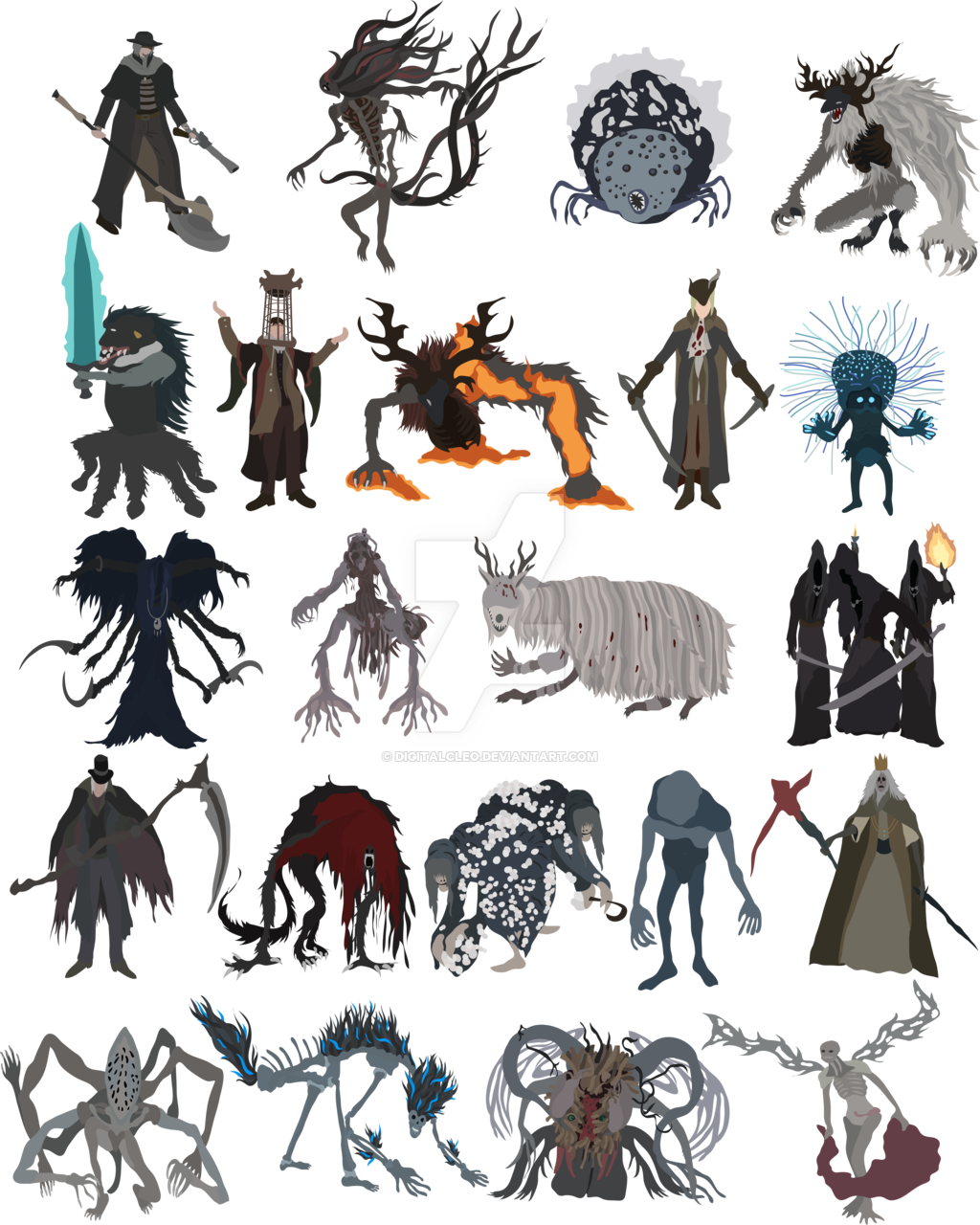 clipart freeuse stock All bosses fanart darksouls. Bloodborne drawing simple
