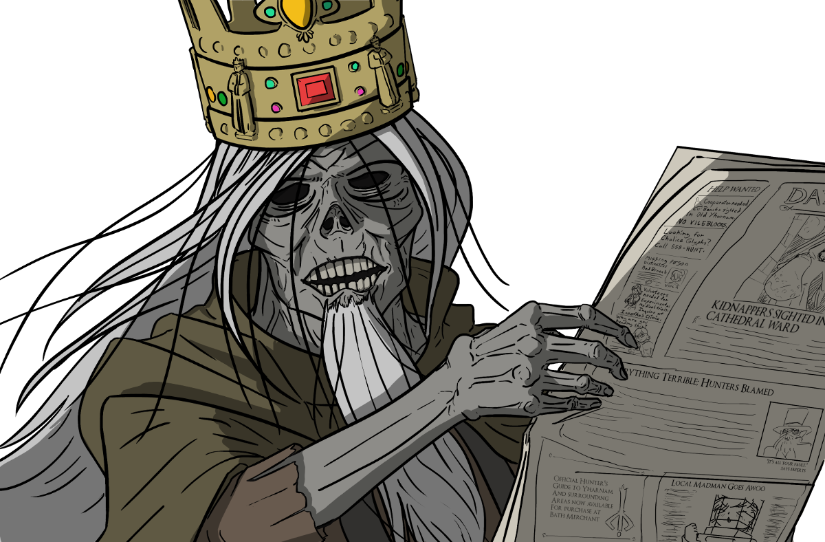 clipart transparent Bloodborne drawing yharnam. Logarius reading the newspaper