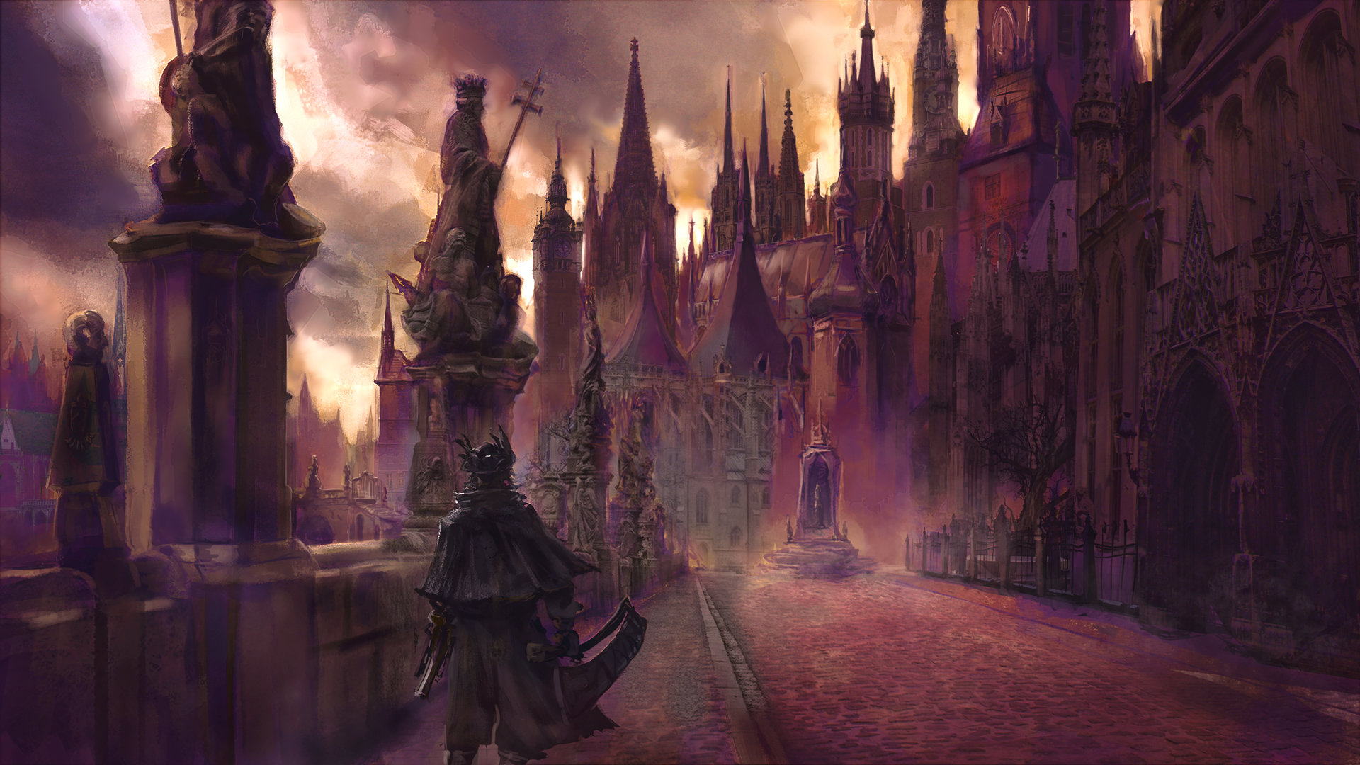 image freeuse library Bloodborne drawing yharnam. Artstation cathedral ward edouard