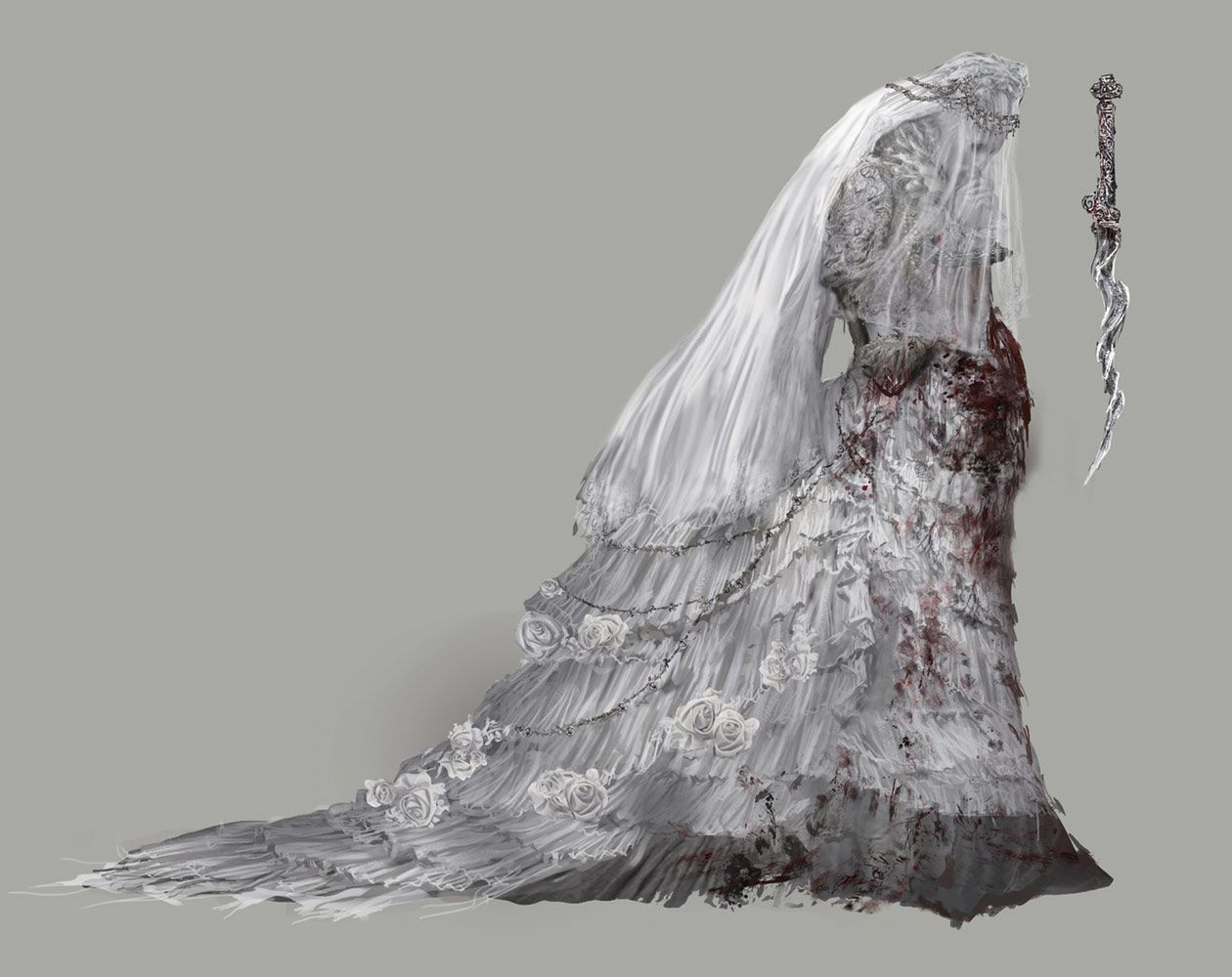 svg black and white stock Pthumerian queen from creature. Bloodborne drawing yharnam