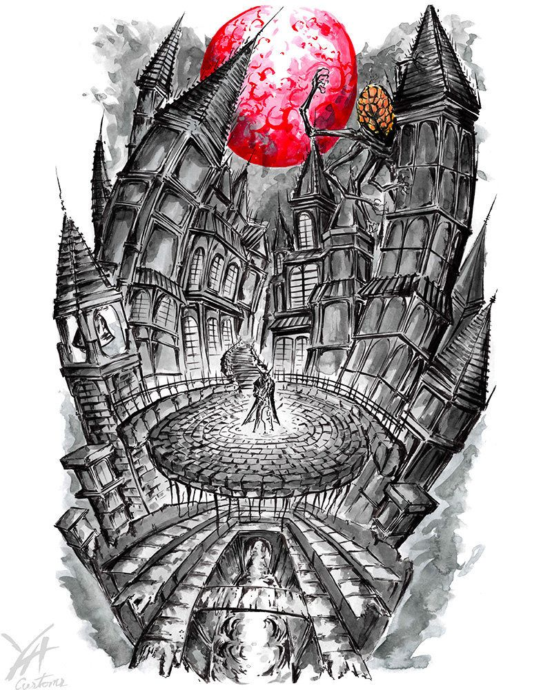 royalty free stock Yharnamcentral soulsborne gamer print. Bloodborne drawing yharnam