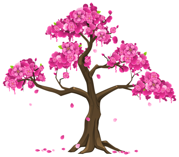 png black and white library Pink Tree PNG Clipart Image