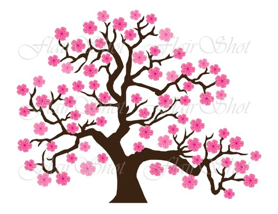 jpg free stock Digital clip art pink. Blossom clipart tree