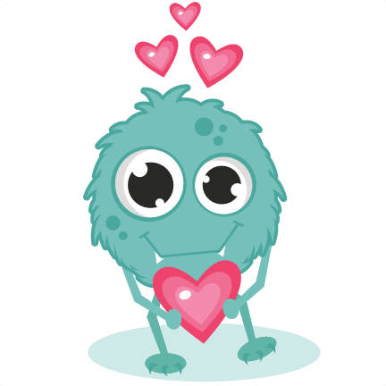clipart transparent Monster in love svg. Blue clipart monsters.