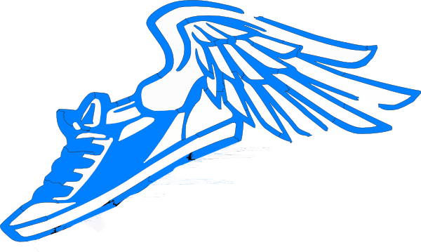 svg transparent download Blue Running Shoe With Wings Clip Art at Clker