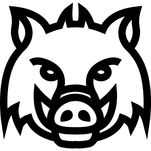 transparent library Boar vector. Wild head frontal outline