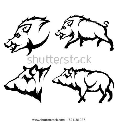 graphic black and white download Boar vector. Set of black wild