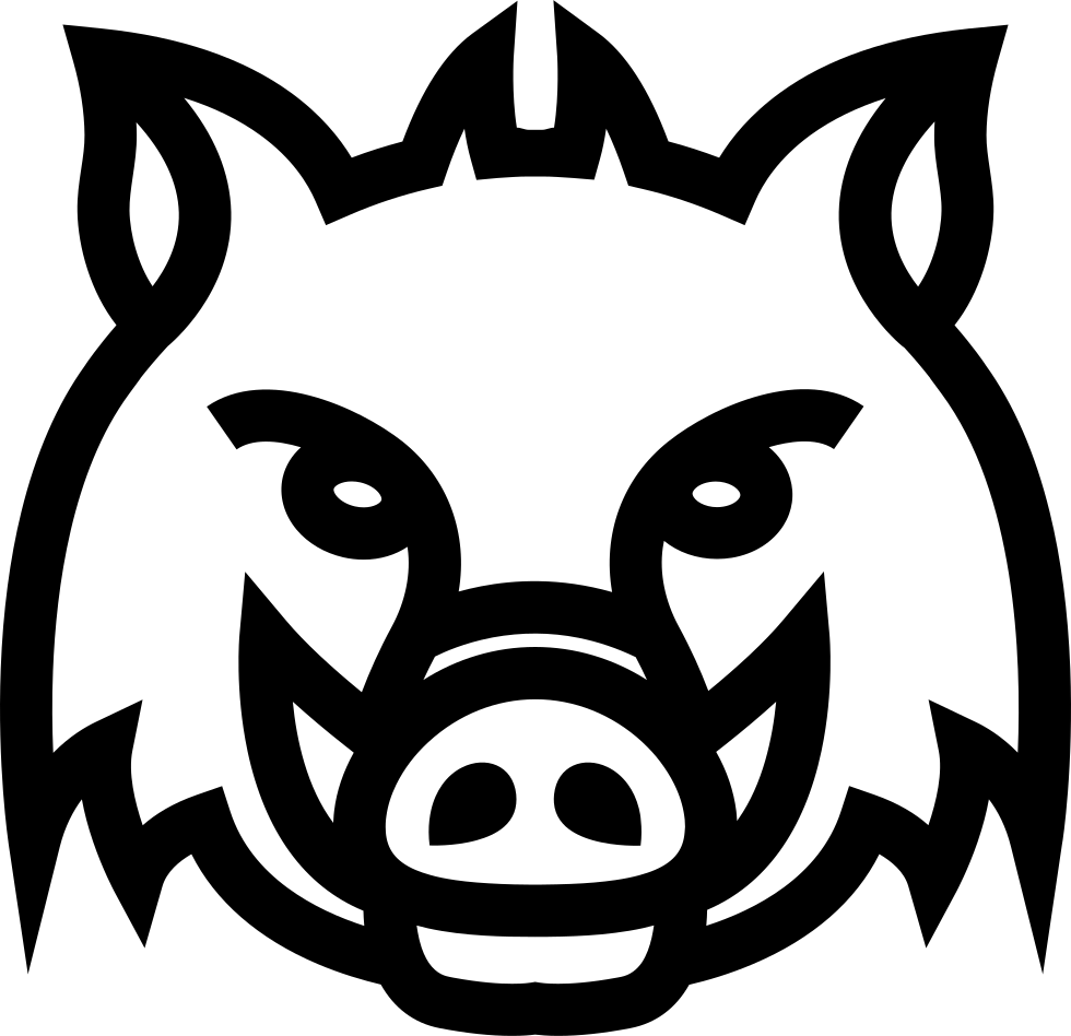banner black and white Boar vector drawing. Wild head frontal outline
