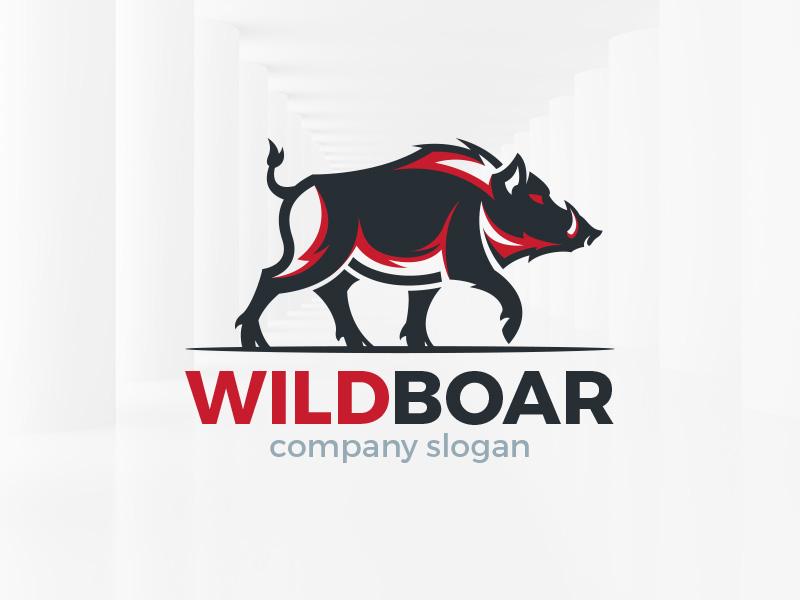 vector library stock Wild template by alex. Boar vector logo