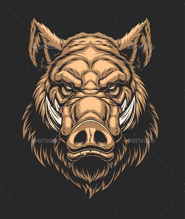 banner royalty free stock Head of Ferocious Boar