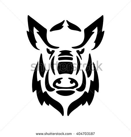 banner free stock Stylized head of a. Boar vector stencil