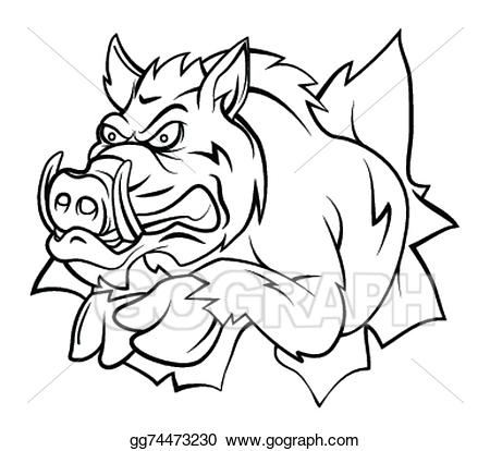 png black and white download Clipart illustration gg . Boar vector wild