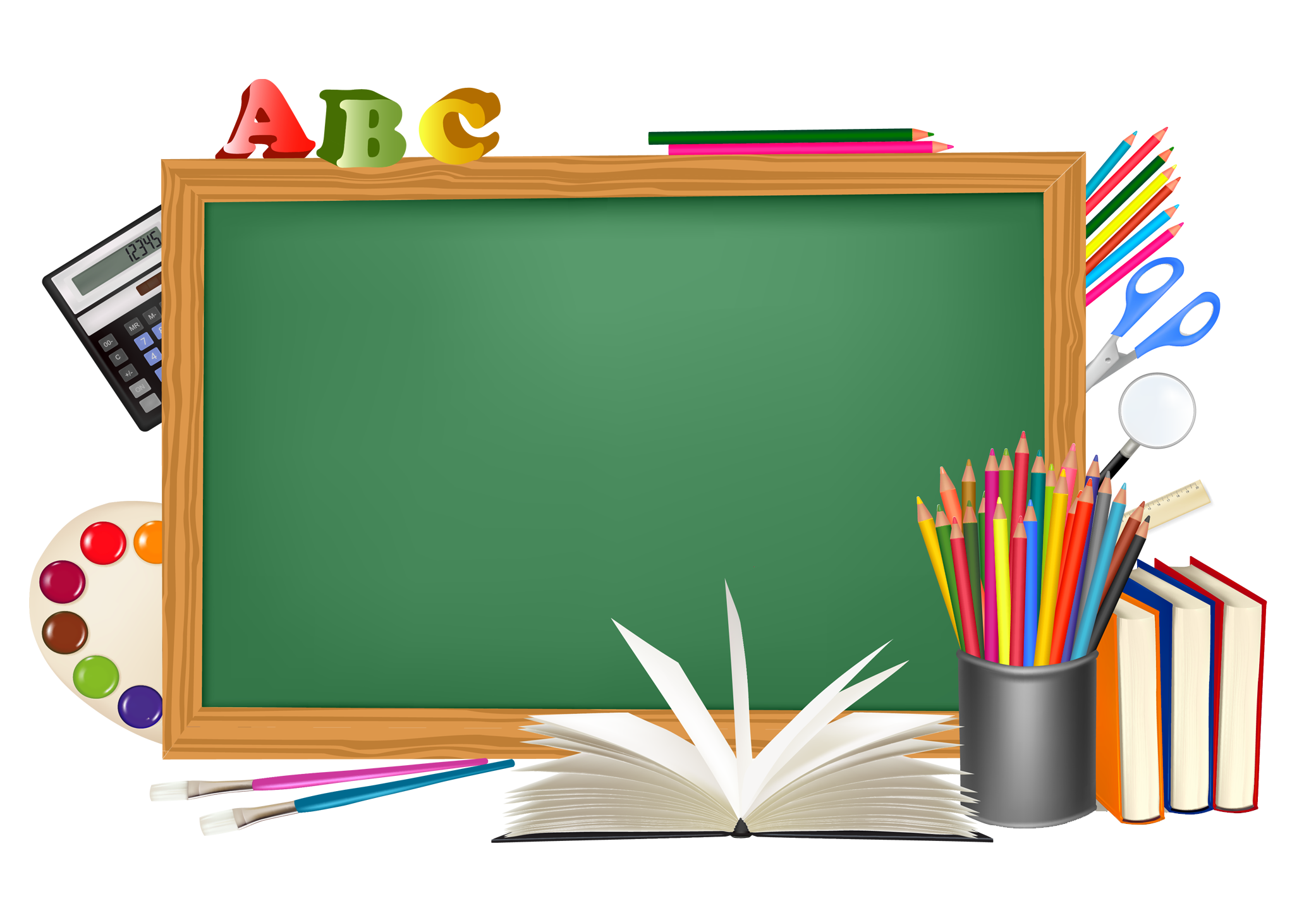 picture royalty free Green school and decors. Board clipart.