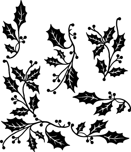 png black and white library Boarder clipart holly. Border clip art at