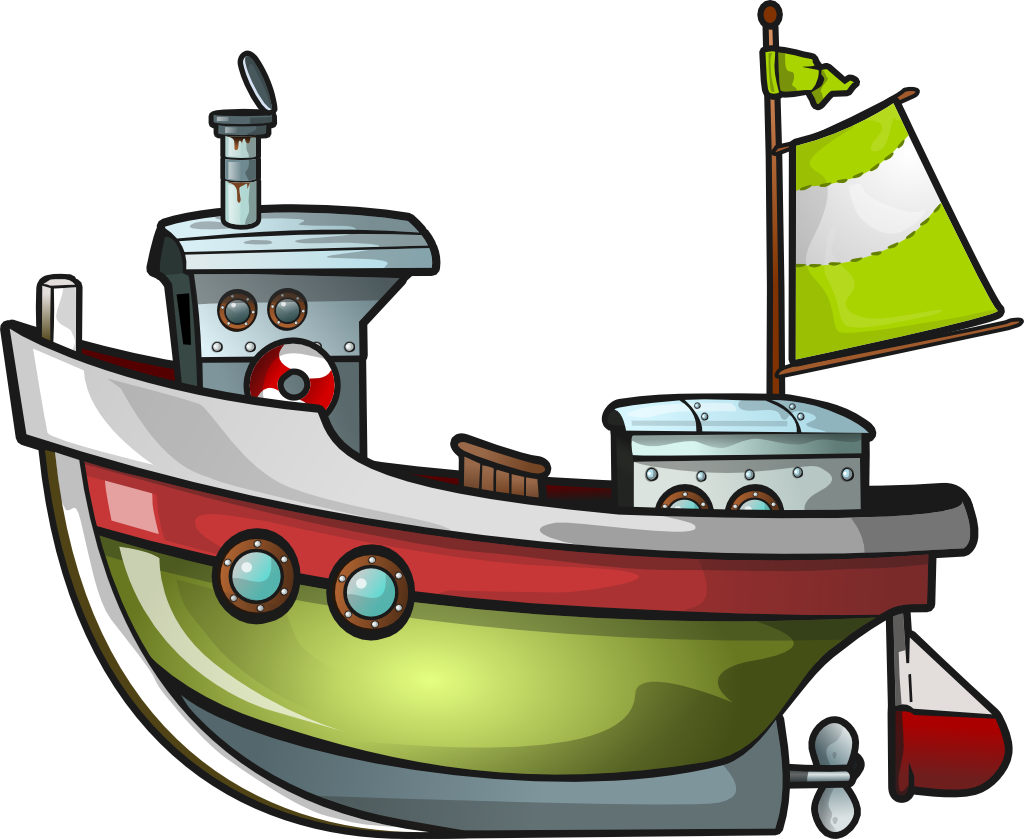 image freeuse stock Vector boat fishing vessel. Free green clip art