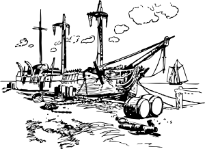 svg royalty free library Moldering wreck clip art. Boat clipart shipwrecked