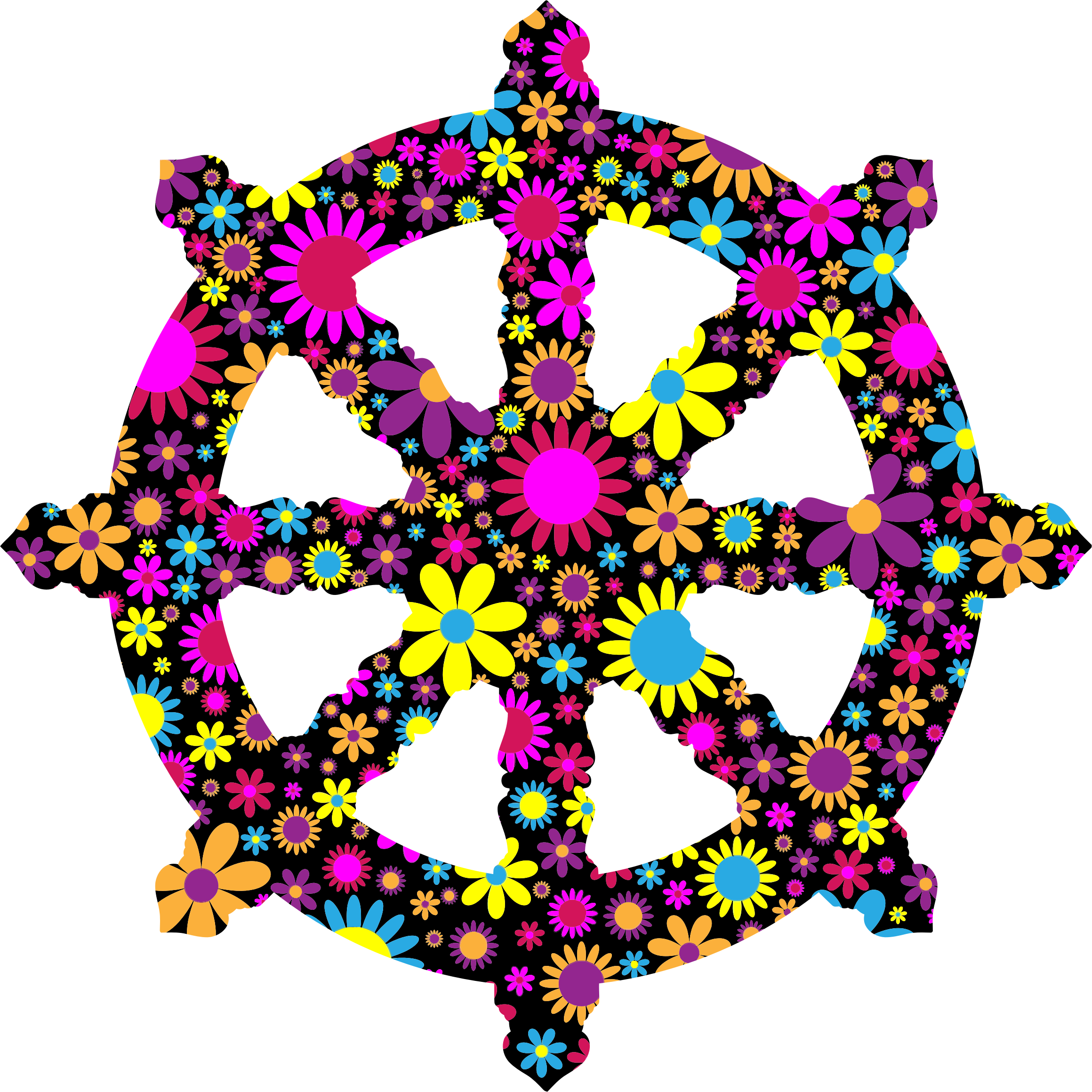 clip royalty free Floral ornate dharma silhouette. Boat clipart wheel