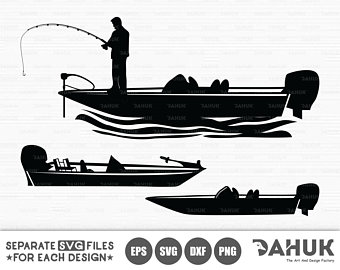 graphic black and white download Boat svg fishing. Bass file fisherman etsy