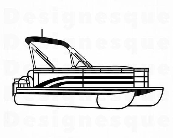 png library library Boat svg pontoon. Outline clipart files for