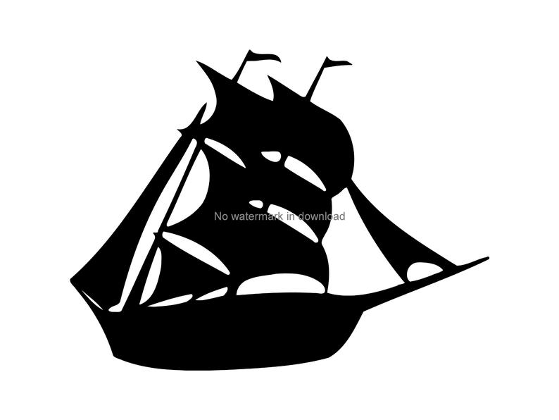 banner Boat svg silhouette. Ship clipart vector nautical
