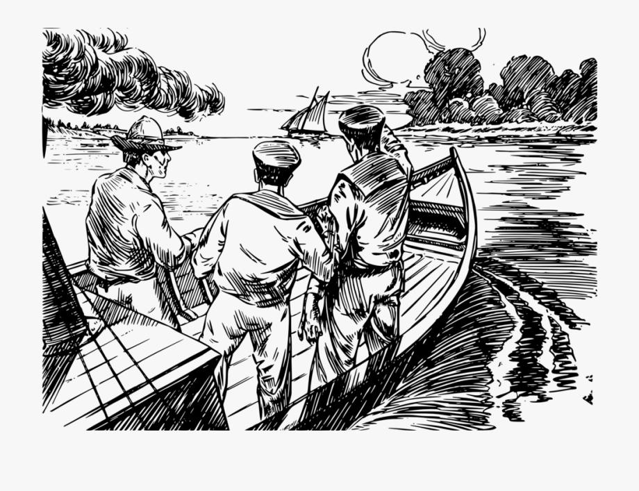 clip art download Three men in a. Boats clipart illustration