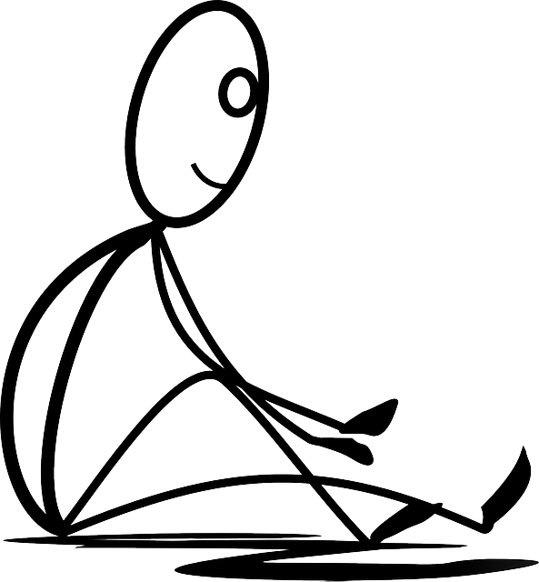 jpg black and white stock Sitting stretching resting stickman. Boats clipart stick figure