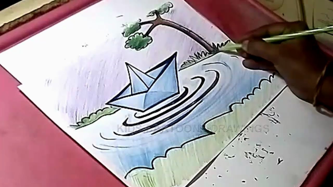 clip art transparent How to draw paper. Boats drawing creative