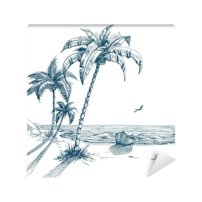 clip free download Summer beach with trees. Boats drawing palm tree