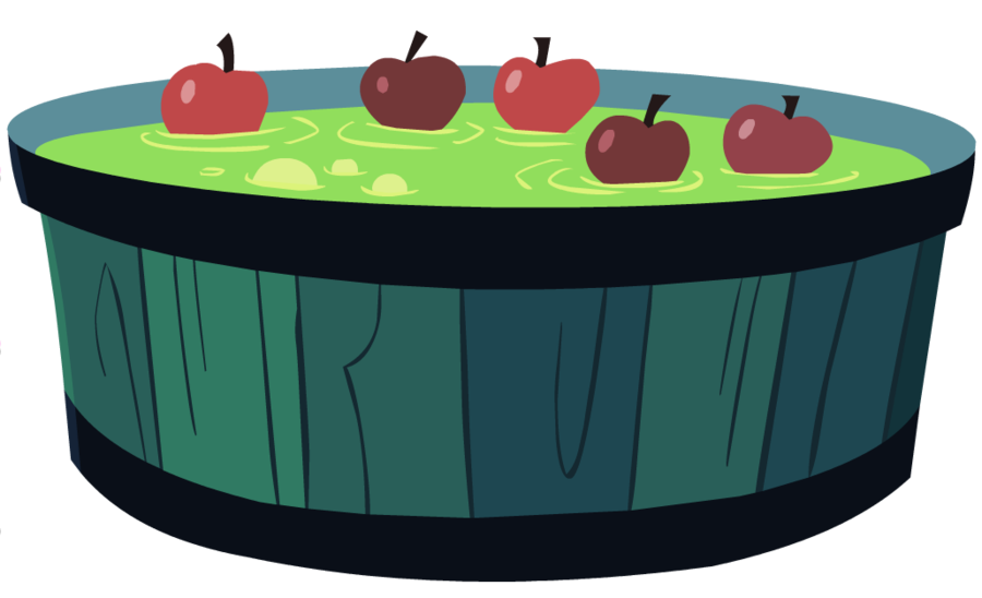 image stock Nightmare night apple by. Bobbing for apples clipart.