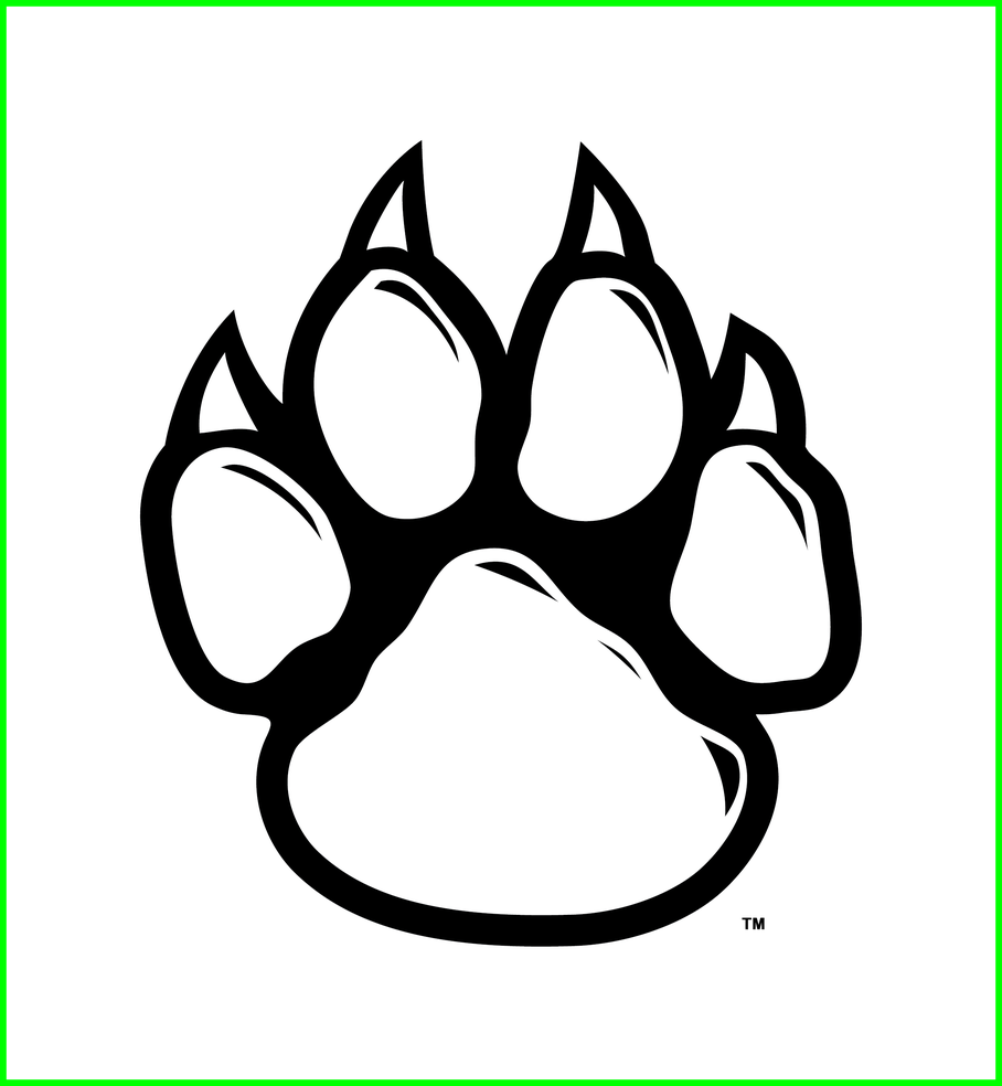 banner black and white library Amazing Wolf Paw Print Clip Art Shapes Line Picture Of Lion Clipart