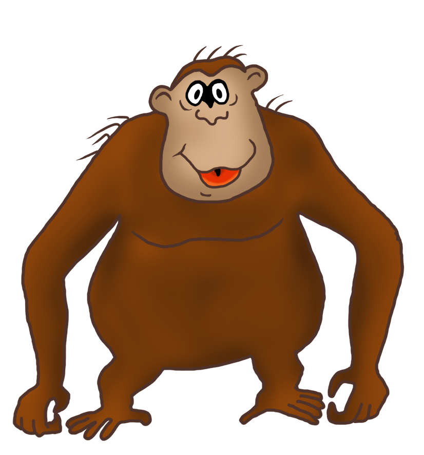 clipart transparent stock Funny monkey drawings clip. Body clipart gorilla