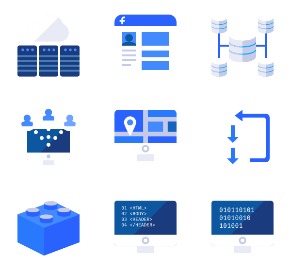 vector library library Essential icon family icons. Vector color blue