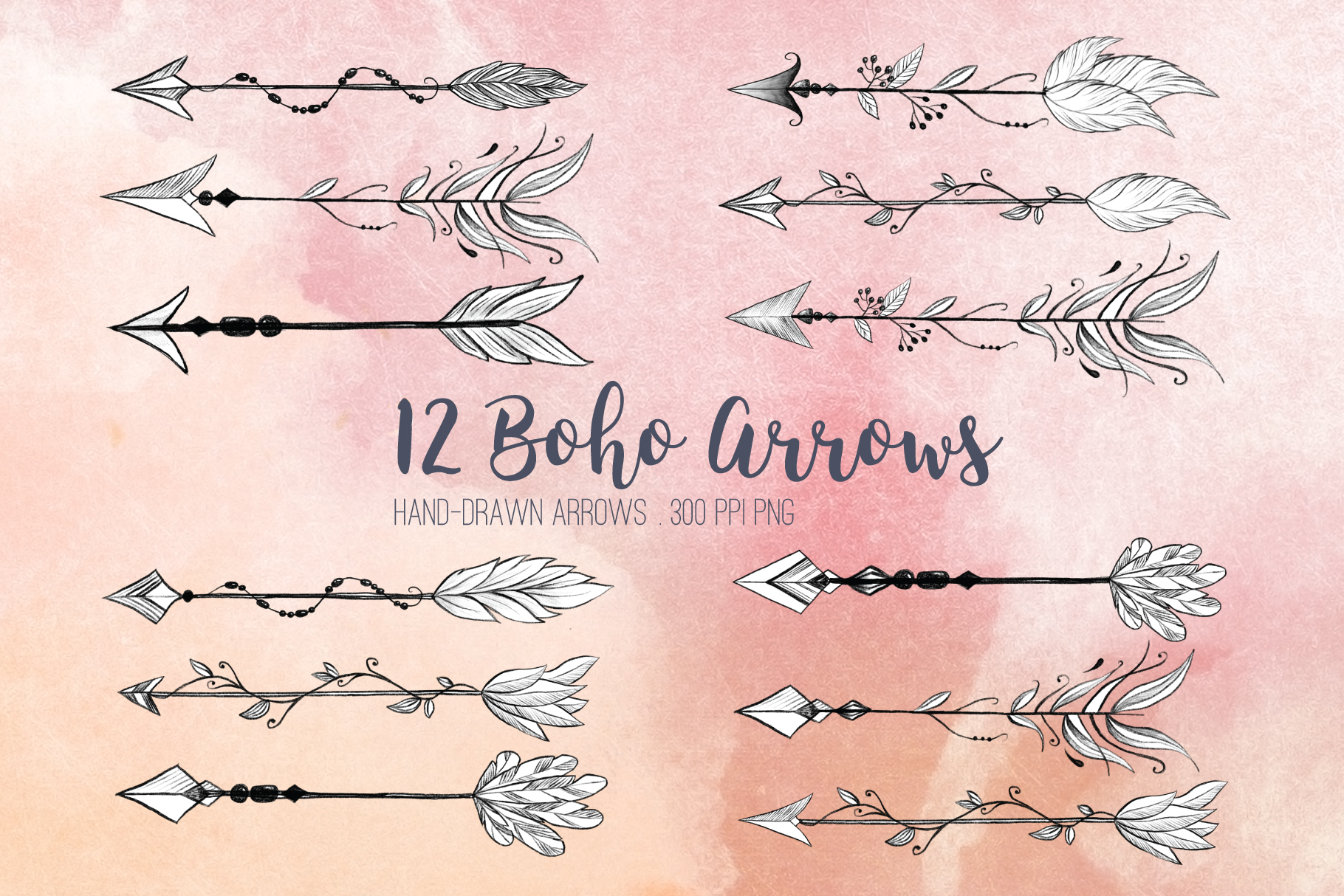 clip black and white download Boho arrow clipart. Arrows clip art