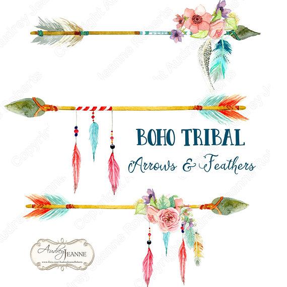 vector library stock Watercolor tribal arrows floral. Boho arrow clipart