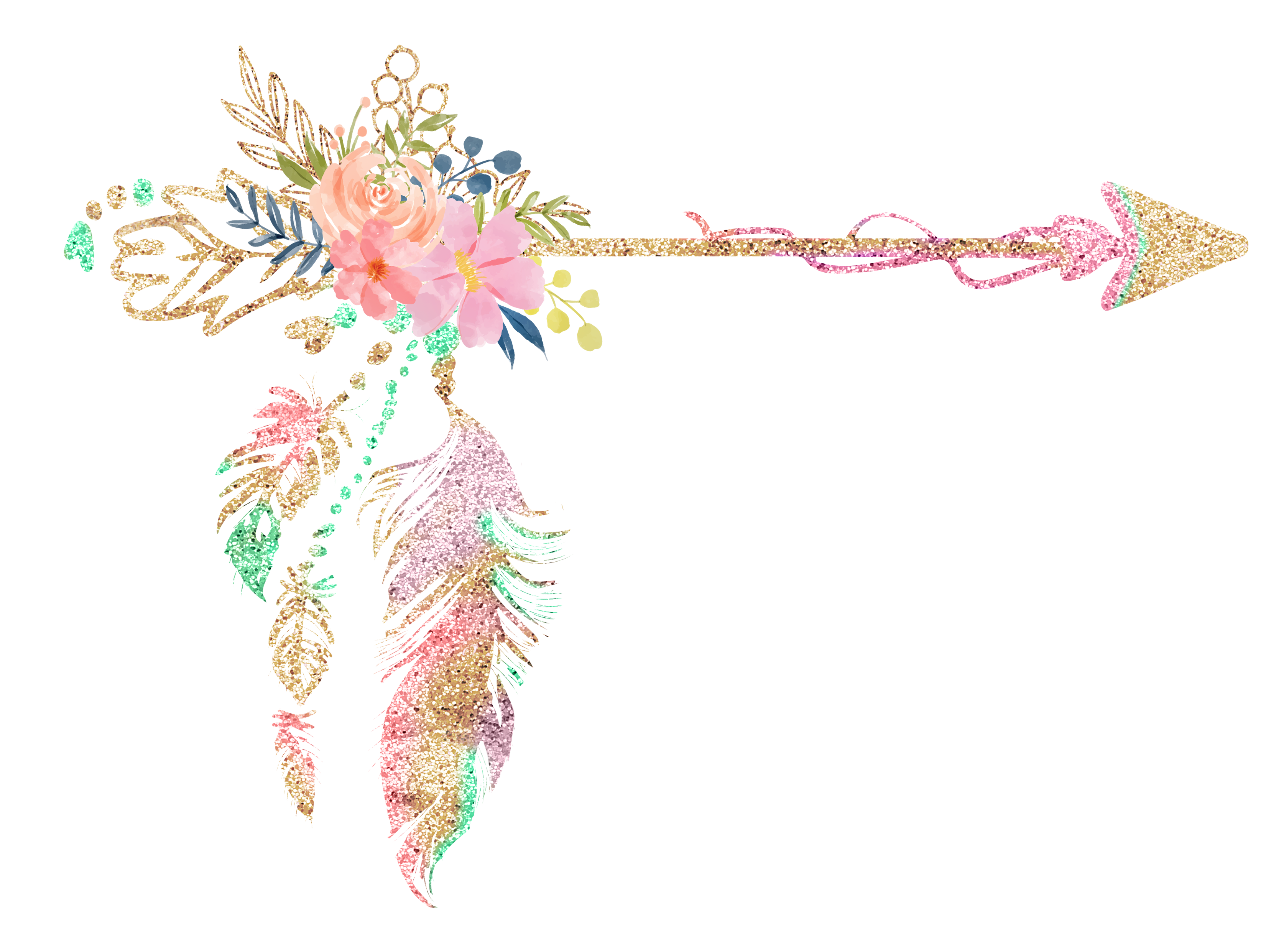 graphic Boho clipart. Free floral arrow pretty