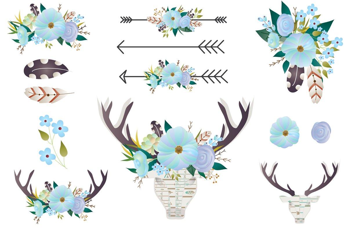 svg library Boho clipart. Floral clip art deer