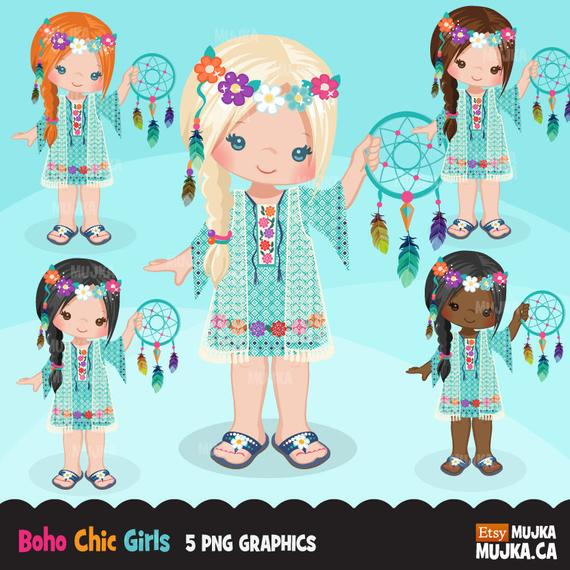 picture royalty free stock Boho clipart boho girl. Bohemian chic characters card.