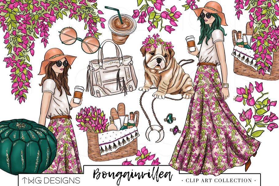 image free download Fashion chic clip art. Boho clipart boho girl.