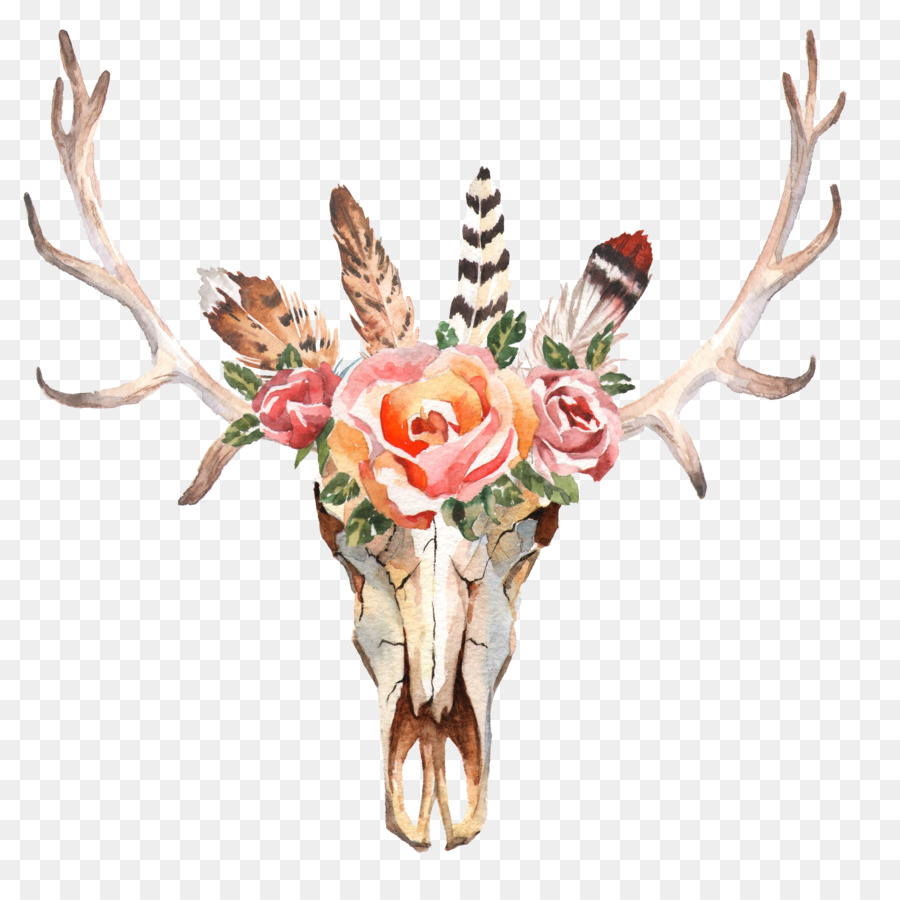 image black and white library Boho clipart deer. Watercolor floral background flower.