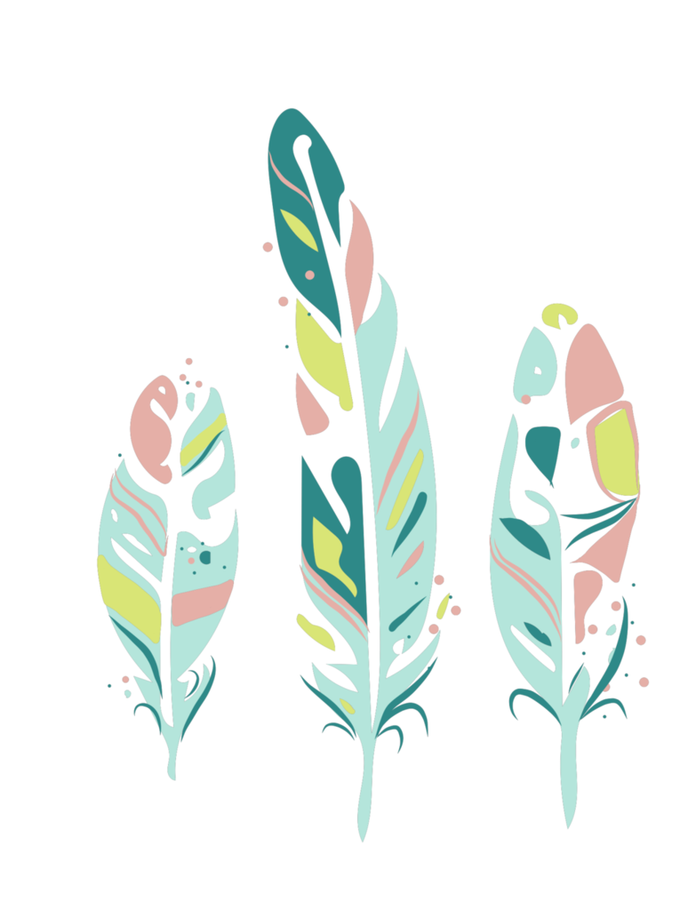 clip art transparent library Three feathers green hand. Boho clipart feather