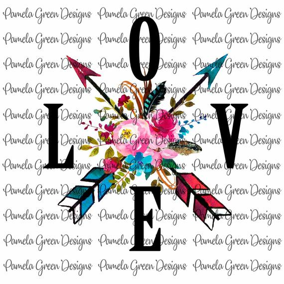 clipart freeuse Boho clipart valentine. Love arrow floral valentines