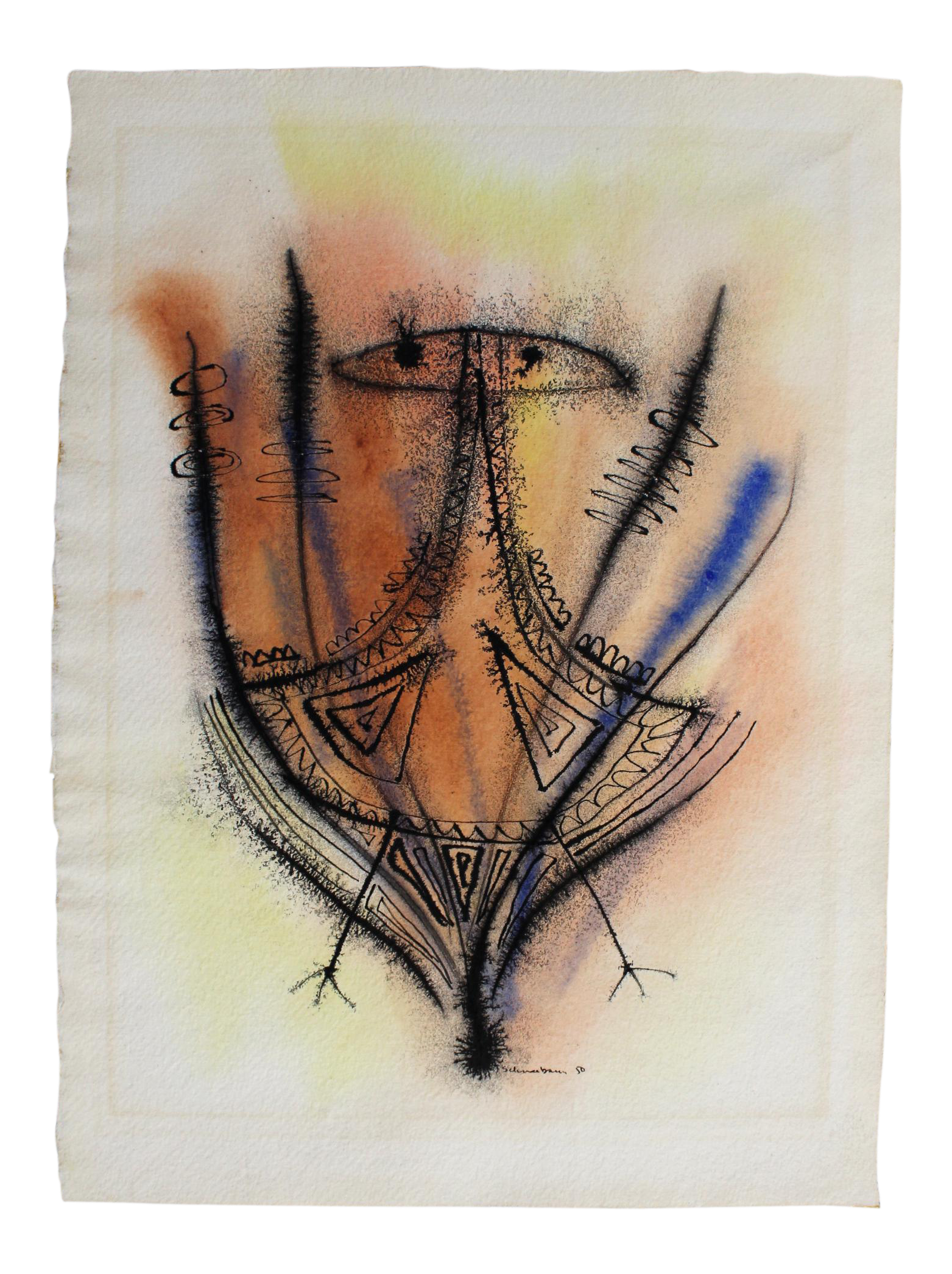 svg free library Tobias Schneebaum Abstract Ink and Watercolor Drawing