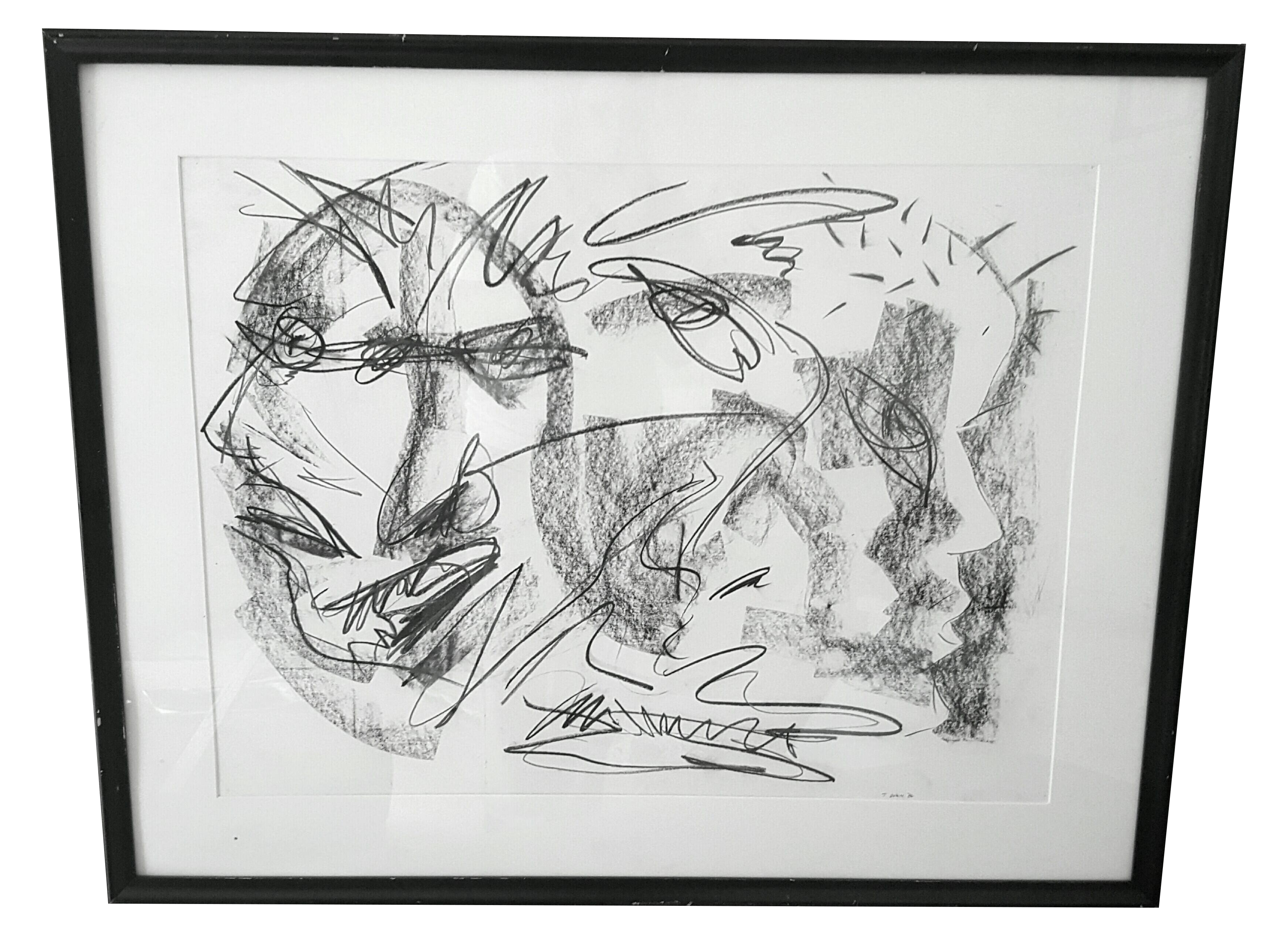 svg library stock Original Abstract Charcoal Faces Drawing