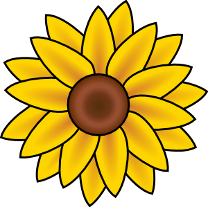 png royalty free Simple sunflower to paint on a round stone or paver