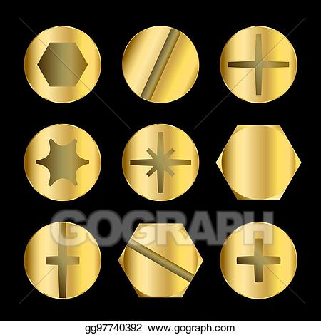 clip art free library Bolt clipart gold. Vector art and screw