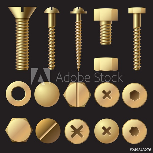clip royalty free library Golden bolts and screws. Bolt vector fastener