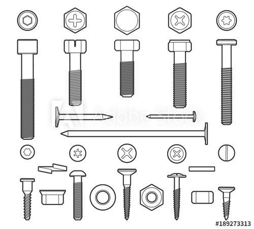 png free Bolt vector fastener. Metal fasteners line linear