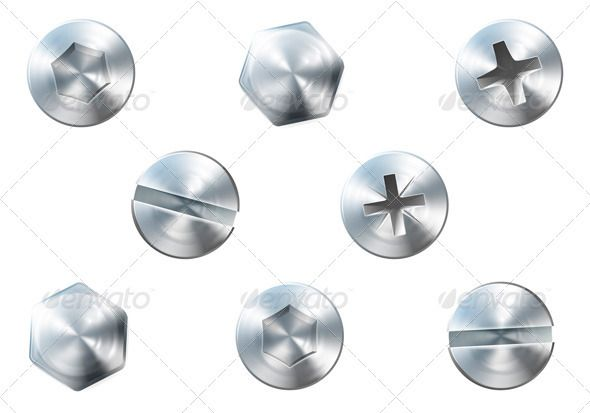 clipart royalty free library A set of shiny. Bolt vector metal