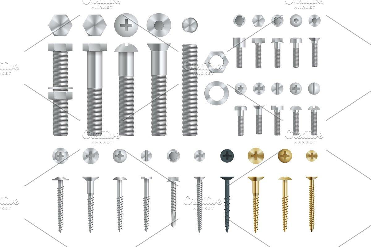 picture freeuse library Set of steel screws. Bolt vector rivet